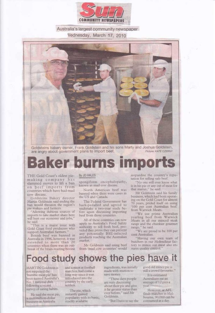 Baker burns imports