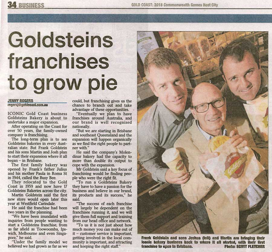Goldsteins franchises to grow pie